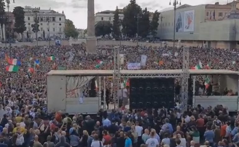 Rome Protests: Tens Of Thousands Of Italians Protest 'Green Pass' Vaccine Passports